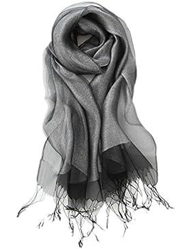Prettystern - zweilagig leicht Seide & metallisch Meterial schimmernd langer glitzer Schal - 11 Farben