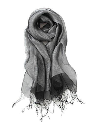 Prettystern decorativo strati leggermente seta e materiale metallico luccicante lunga sciarpa 10. argento