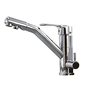 JRUIA – Grifo de cocina cromado de 3 vías para filtro de agua, giratorio 360°, grifo de cocina y fregadero, 2 palancas…