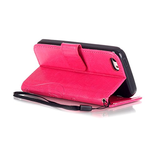 SainCat Apple iPhone 5c Custodia in Pelle,Anti-Scratch Protettiva Corpertura Caso Custodia Per iPhone 5c,Elegante Creativa Dipinto Pattern Design PU Leather Flip Ultra Slim Sottile Morbida Portafoglio Farfalla diamond,Rose rossa