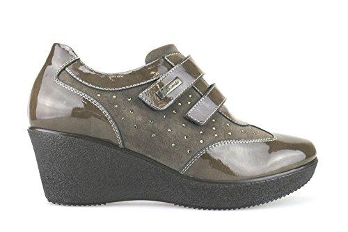 SUSIMODA sneakers donna beige / marrone camoscio vernice (40 EU, Beige/marrone)