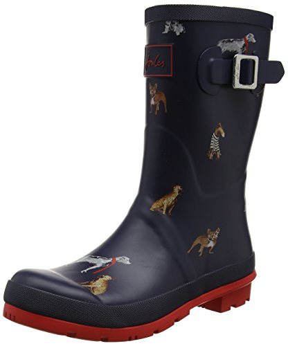 Joules Mollywelly, Women's Wellington Boots, Blue (French Navy Cosy Dogs), 5 UK...