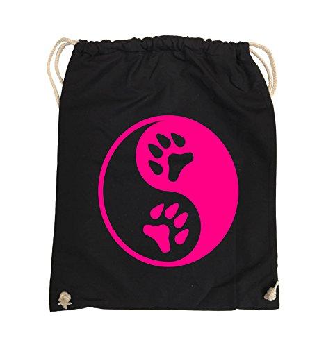 Comedy Bags - YING YANG - PFOTE2 - Turnbeutel - 37x46cm - Farbe: Schwarz / Silber Schwarz / Pink