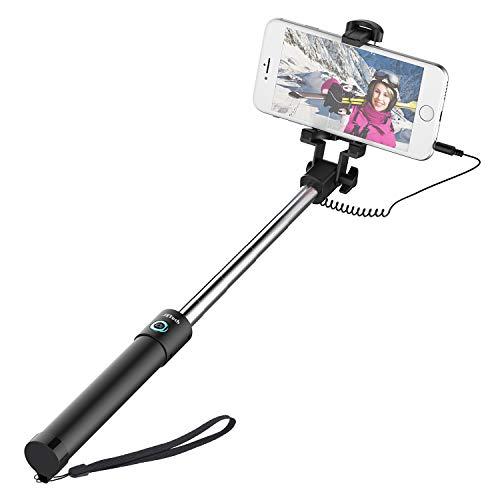 JETech Palo Selfie Stick, Extensible Control de Cable, Inalámbrico (Sin Batería Sin Bluetooth) Monopod Polo