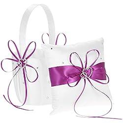 Cesta de Flores con Cojín color púrpura