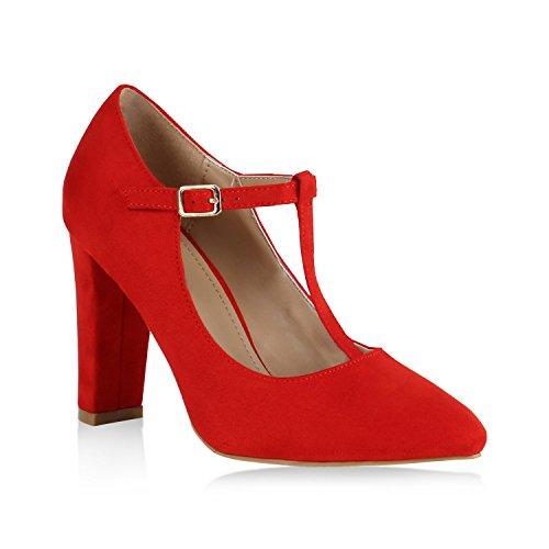 Stiefelparadies Damen Schuhe Spitze Pumps Klassisch T-Strap Blockabsatz High Heels 147882 Rot...
