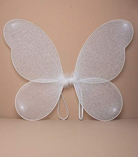 Große erwachsene Netz-Fee Wings mit silbernem Glitter-Abendkleid oben (Fee Flügel Weiße Erwachsene)