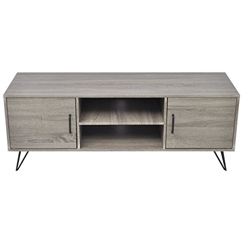 Festnight Meuble Banc TV Table de Chevet Design Scandinavee en MDF 120 x 40 x 45 cm Gris