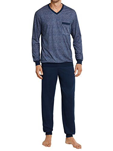 Leinwand Mit V-ausschnitt Jersey (Seidensticker / Schiesser 161179 804 Schlafanzug Pyjama nachtblau, Größe:62 / 5XL)