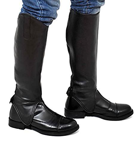 Riders Trend 10023010 (Large, Calf (15-16) x Height-16.50 Inch) - Equi Leather Synthetic Gaiters with Amara Lining -