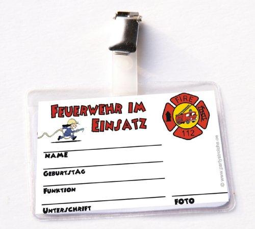 Feuerwehr-Ausweis für * Feuerwehrmann Flo * mit Clip und Hülle // Kindergeburtstag Kinder Geburtstag Feier Set Mottoparty Fest Party Motto Deko Spiel Mitgebsel Fire Fighter