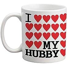 YaYa cafe Valentines Day Gift for Wife I Love My Hubby Printed Ceramic Coffee Mug 325 ml