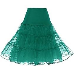 Dresstells Mujeres Cancan 50s Retro Rockabilly Enaguas Miriñaques Faldas Dark Green M