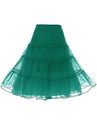 Dresstells 1950 Petticoat Reifrock Unterrock Petticoat Underskirt Crinoline für Rockabilly Kleid Dark Green L