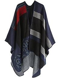 4780be9d41c9 ZKOO Femmes Grand Long Écharpe Vintage Foulard Châle Motif Cape Etole  Ponchos Hiver Automne Écharpe A