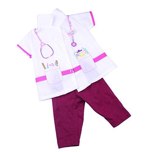MagiDeal Puppenkleidung für 18 Zoll Puppe - Krankenschwester Doktor Uniform Anzug (Doktor Mädchen Dress Up)
