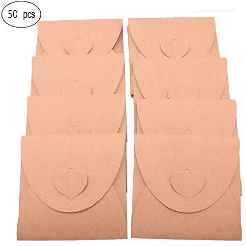 50 Stück Kraftpapier Briefumschläge,Kreative retro niedlichen herzförmigen Umschlag, für Hochzeit, Geburtstagsfeier Geschenk liefert (13cmx13cm) (Niedlichen Hochzeit Bevorzugungen)