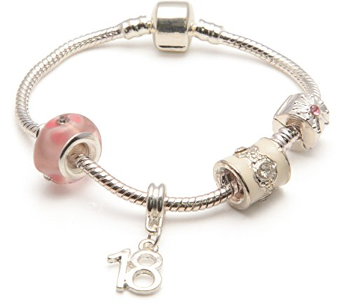 Bling rocks parfait'18 anni, colore: rosa, in argento con charm, stile pandora-bracciale con perline, placcato argento, cod. bwp20k-23cm