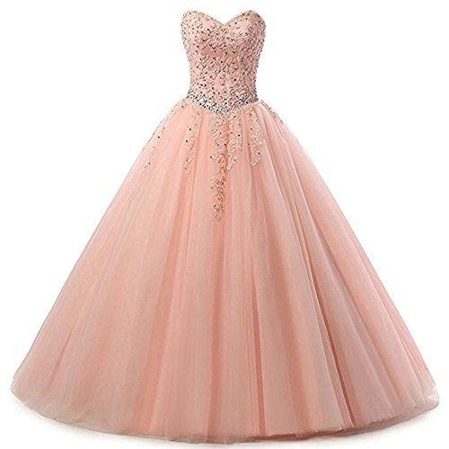 Zorayi Damen Liebsten Lang Tüll Formellen Abendkleid Ballkleid Festkleider Rosa Größe 40