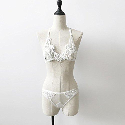 Lingerie Longra Femmes Corset Top Lace Bra + Underpants Sous-Vêtement Blanc