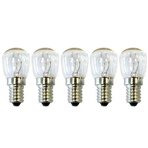 COM-FOUR® Lámpara 5er Sparpack para refrigerador 15W 230V E14 64x28 mm, blanco...