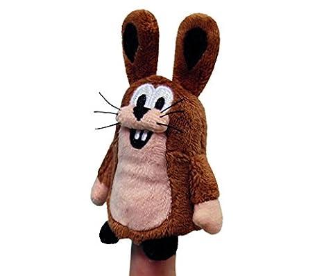 Maulwurfshop - 1321 - Der Kleine Maulwurf Freund Hase Plüsch Fingerpuppe Fingertier 8cm inklusive Aufkleber vom kleinen Maulwurf