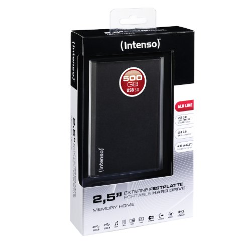Intenso Memory Home 500GB externe Festplatte (6,4 cm (2,5 Zoll), 5400rpm, 8MB Cache, USB 3.0) anthrazit