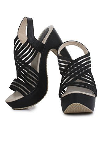 Beauty Queen Women's Black Artificial Heels 38