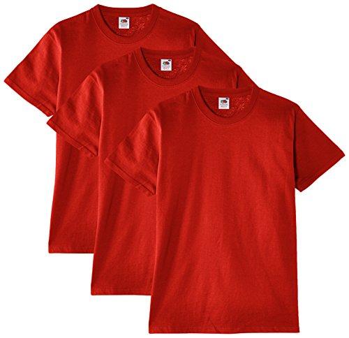 Fruit of the Loom Herren T-Shirt, 3er Pack, Gr. X-Large, Rot - Rot Heavyweight Tee