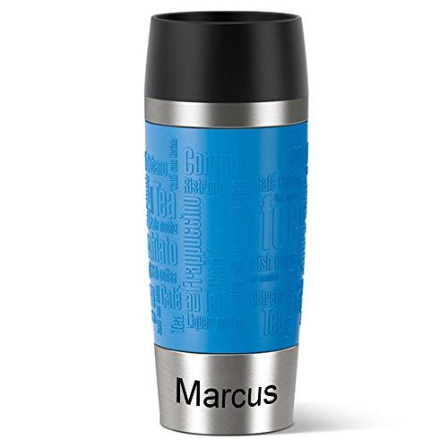Emsa Isolierbecher MIT Gravur (z.B. Namen) 360ml TRAVEL Mug Wasserblau mit persönlicher Rundgravur, Travelmug Kaffee & Tee Thermo to-go-Becher mit Quick Press Verschluss 100% auslaufsicher