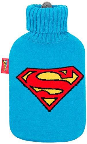 Excelsa Superman Wärmflasche, Gummi/Stoff Acryl, Blau, 36x 20x 5cm