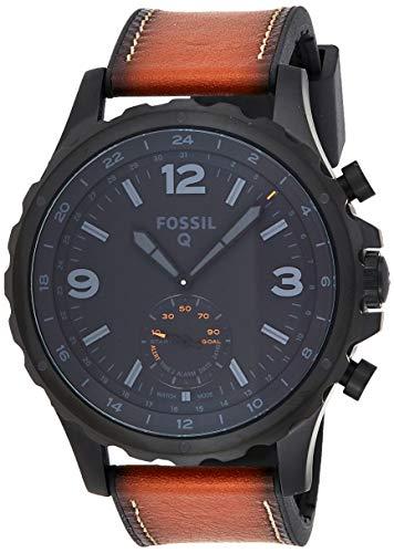 Fossil Herren Hybrid Smartwatch Q Nate - Leder - Dunkelbraun / Analoge Herrenuhr im klassischen Vintage Stil mit Smartfunktionen / Für Android & iOS