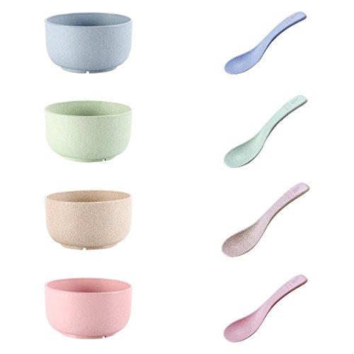 UPSTYLE Healthy trigo paja plástico cuenco para sopa cuenco de sopa cuenco de arroz con irrompible cucharas para niños apoyo cuencos para microondas (4unidades, 4cucharas)
