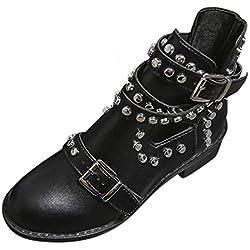 POLP Botas de Tobillo para Mujer con Hebilla Botines Mujer Tacón bajo de 4 cm Negro Zapatos de Tobillo de Fiesta con Tachuelas Otoño Invierno
