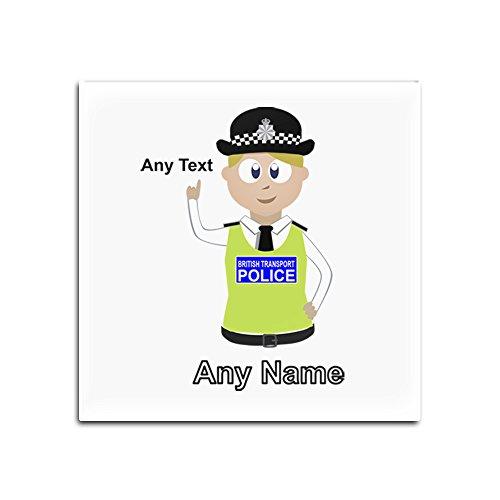 UniGift Glasuntersetzer mit britischer Transportpolizei (Polizei-Design, Farboptionen) - Name / Nachricht auf Ihrem einzigartigen Pad - BTP - Blond/Gelb Haar Polizistin Hut Cap, glas, weiß, Quadrat (Polizei-hut Für Verkauf)