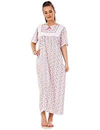 4e96167ff Apparel Women Nightwear Floral Print 100% Cotton Short Sleeve Long  Nightdress M to XXXL