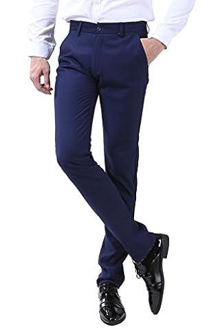 INFLATION Klassisch Herren Slim Fit Schnitt Anzughose Men's casual pants Business Hose Reine Farbe Anzugsuit Hose Smoking Hose,Navy Blau, DE Größe