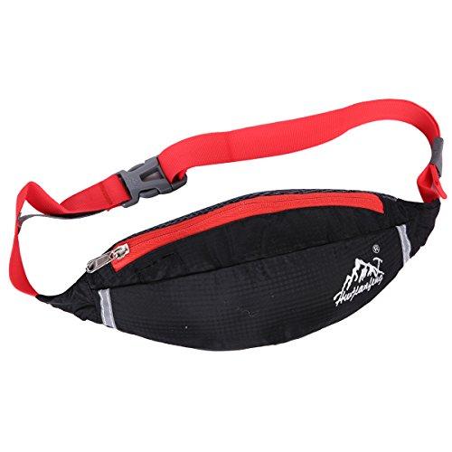 EVERGO bolso de cintura mochilas de cintura para hombre o mujer al aire libre correr escalada deportes, negro