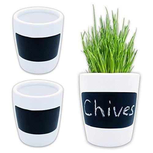 3 vasi per erbe aromatiche, ca. Ø 9,5 x 11 cm, in ceramica bianca, lavagnetta su cui poter scrivere