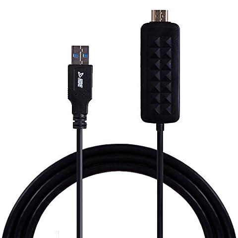 HDE USB 3.0vers câble HDMI haute définition Audio Vidéo mâle à mâle Adaptateur convertisseur pour ordinateur portable