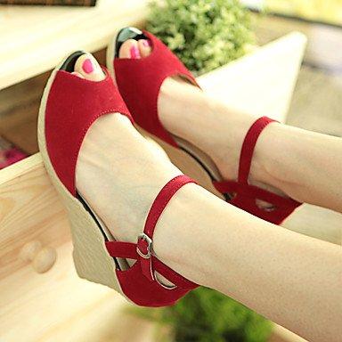 zhENfu Scarpe donna zeppe di tacco / tacchi / Peep toe sandali tacchi / Esterni / Abbigliamento Casual / nero / blu / rosso / mandorla/1327 Ruby