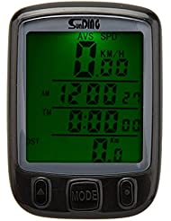 Lixada Odomètre Chronomètre Tachymètre Compteur de Vitesse de Ordinateur LCD rétro-éclairage Multifonction Etanche pour Vélo Bicyclette Cyclisme
