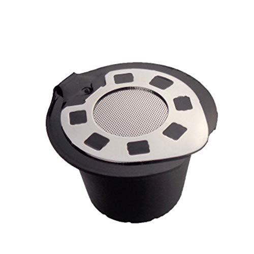 kioski Cápsulas de café Recargables de 5 Piezas, Tapa de Acero Inoxidable cromada, cápsula Reutilizable para cafeteras Nespresso