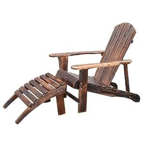 Adirondack fauteuil de jardin chaise longue avec repose-pied bois de cèdre certifié FSC 120L x 72l x 96Hcm marron boisé neuf 47