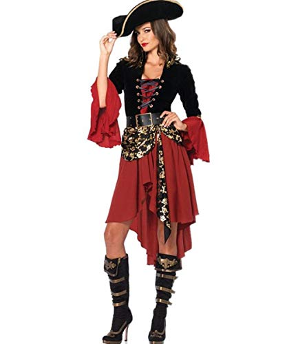 LCXYYY Piraten Kostüm Damen Mädel Pirat Halloween Frau Kleid Karneval Verkleidungsparty Cosplay Faschingskostüm Sexy Erwachsenenkostüm Piratin