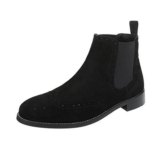 Stiefeletten Leder Herren-Schuhe Chelsea Boots Blockabsatz Blockabsatz Ital-Design Boots Schwarz, Gr 43, 220158-