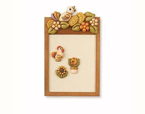 thun® - lavagna magnetica piccola da parete con 3 calamite: tulipano, gallo e girasole - ceramica e legno - linea country