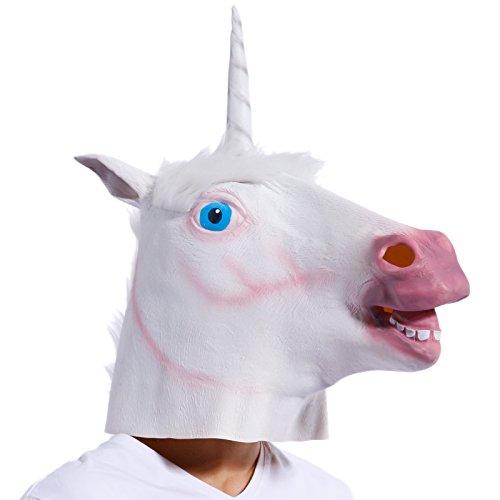 Anladia Einhorn Maske für Halloween Kleid Kopf Maske Latex Fasching Latex Vollmaske Tiermaske Kostüm