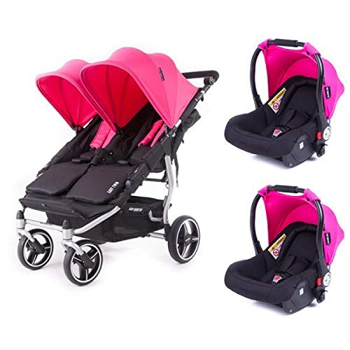 Poussette double Baby Monsters Easy Twin 3S Reversible - Chassis Silver + 2 sièges auto Luna Rose