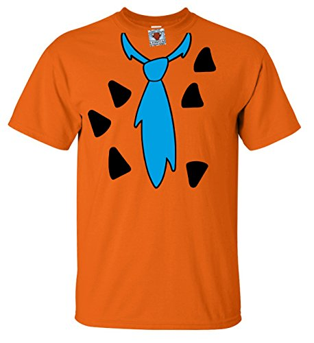 (Reality Glitch Herren Caveman Suit T-Shirt - inspiriert by The Flintstones FRot Wilma Barney Rubble (Orange, Groß))